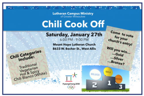 Annual Chili Cook-Off January 27th, 6pm